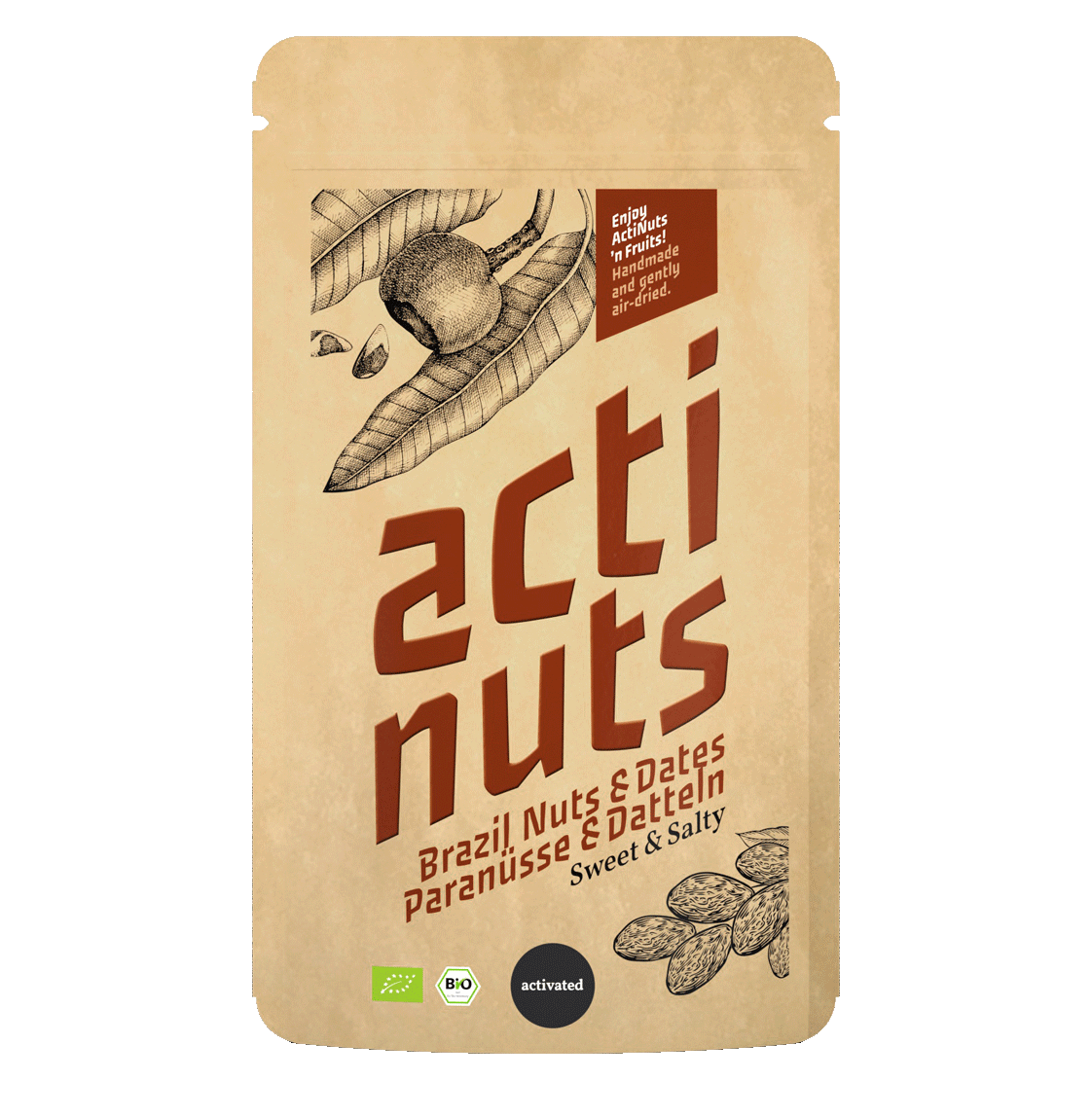 Activated Brazil nut kernels sweet and salty with dried dates