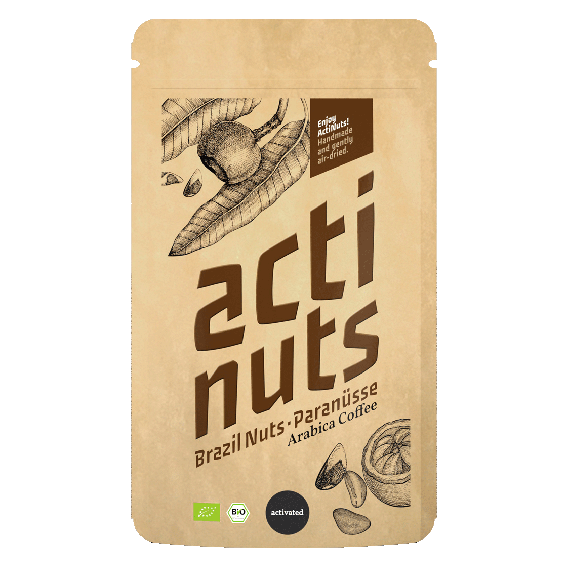 Activated Brazil nut kernels with arabica coffee and cacao